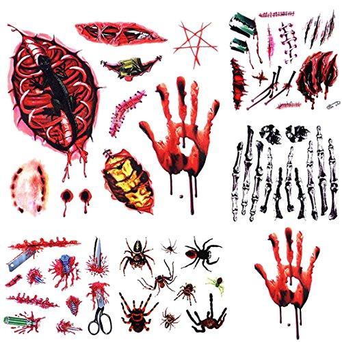 Freahap 5 Stück Halloween Temporäre Tattoos Make up Aufkleber für Party (Halloween Einfach Minute Kostüme Fünf)