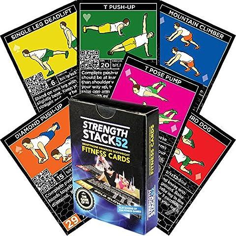 Übung Karten: Stärke Stack 52Körpergewicht Workout Spielen Kartenspiel. Entworfen von eine Militärische Fitness Expert. Video Anleitung enthalten. Keine Ausstattung. Brennen Fett und Hause Muscle.