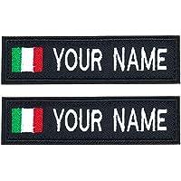 Brillianne Patch Nome Militare Ricamo Personalizzato, Gancio Bandiera Italia su Toppe, Nome Motociclista per Giacche o…