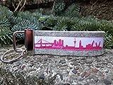 Schlüsselanhänger Schlüsselband Filz hellgrau Hamburg Skyline pink weiß!