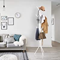 LEOPAX Wrought Iron Coat Rack Hanger Creative Fashion Bedroom for Hanging Clothes Shelves, Wrought Iron Racks Standing Coat Rack (White)