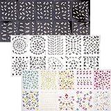 LUTER 30 Blatt 3D Design Nagel Aufkleber Selbstklebende Nail Art Sticker Decals Verschiedene Blumen Schmetterlingsspitze