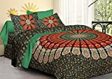 #8: Tiger Exports Cotton Mandala Double Bedsheet With 2 Pillow Covers-King Size, Green