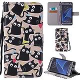 Ooboom® Samsung Galaxy S7 Edge Coque PU Cuir Flip Housse Étui Cover Case Wallet Portefeuille Fonction Support avec Porte-cartes Dragonne pour Samsung Galaxy S7 Edge - Chat Noir