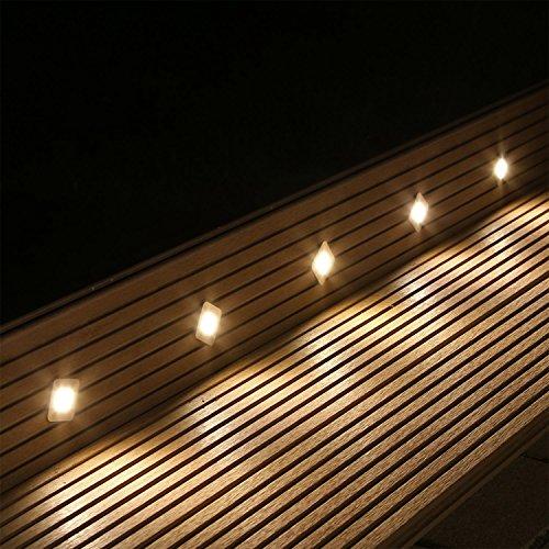 CLGarden BES-S2 blanche chaude Set de lumière au sol LED 10pcs set couleur LED ensemble complet blanc chaud 10 niveaux de encastrables pour terrasse jardin Spot de Sol Kit