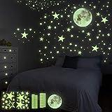 HOSPAOP Pegatinas luminosas para pared, 435 unidades, estrellas luminosas, autoadhesivas, puntos y luna, cielo estrellado, pe