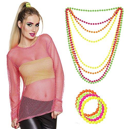 Panelize Netzshirt 80er Jahre Neonkleidung Netzhemd neon-pink mit -