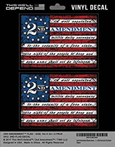 2 Änderung Aufkleber Flagge Aufkleber 2a Amerikanische Flaggen Vinyl 2er Pack 12 7 X 8 9 Cm Usa Amerika Defend Second Home Security Auto Lkw Küche Haushalt