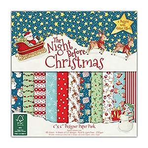 "Helz Cuppleditch 6 x 6 pollici FSC ""The Night Before Christmas"" pacchetto di carta"