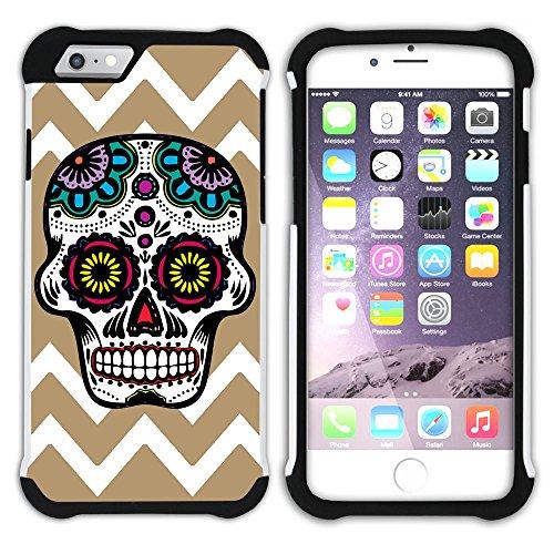 Graphic4You Mexikanische Zuckerschädel Tod Winkel Muster (Wasserblau) Hart + Weiche Kratzfeste Hülle Case Schale Tasche Schutzhülle für Apple iPhone 6 / 6S Hellbraun