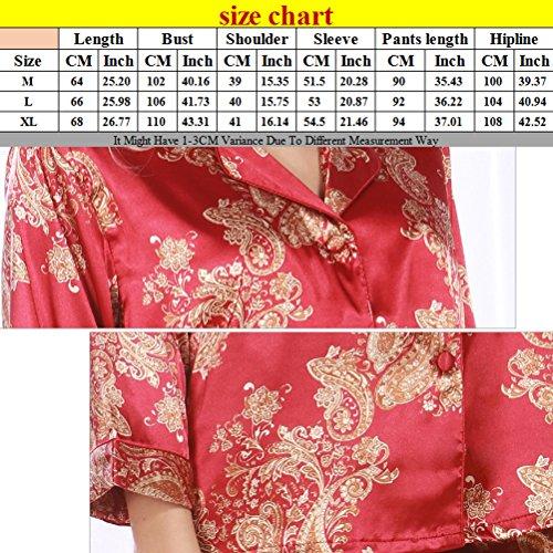 Zhhlaixing Ladies Summer Long Sleeve Nightwear Satin Silky Pyjamas red