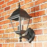 Wandleuchte rustikal außen/schwarz / 1x E27 bis 60W 230V / Wandlampe IP44 / Außenleuchte nostalgisch/Up Leuchte stehend aufwärts/Gartenlampe Hof Beleuchtung Laterne