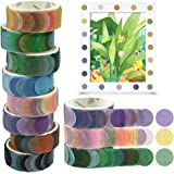 O-Kinee Washi Tape, 8 Rolls Dot Washi Tape Stickers, 800 Pièces Dots Stickers 14mm Largeur Ruban Adhésif Papier Décoratif Mas