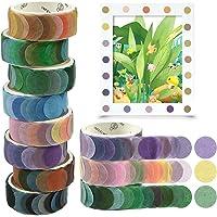 Washi Tape, 8 Rolls Dot Washi Tape Stickers, 800 Pièces Dots Stickers 14mm Largeur Ruban Adhésif Papier Décoratif…