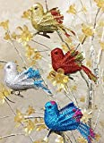 Christmas Bird Ornaments - Set of 12 Clip-On Birds - Package Includes 3 Red, 3 Blue, 3 Gold and 3 Silver - Artificial Birds by Banberry Designs