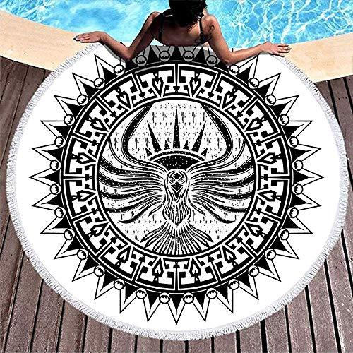 Leo-Shop Ethnische Stammes-Eagle Sun Tattoo PrintRound Strandtuch mit QuastenRound Fringe Beach Throw Tischdecke