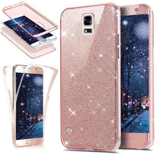 Kompatibel mit Galaxy S5 Hülle,Galaxy S5 Neo Hülle,Full-Body 360 Grad Bling Glänzend Glitzer Klar Durchsichtige TPU Silikon Hülle Handyhülle Tasche Front Back Cover Schutzhülle/S5 NeoRose Gold