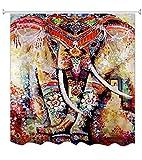 A.Monamour Mehrfarbiger Böhmischer Floraler Elefant Indischer Hippie Mandala Psychedelischer Tätowierung Brauner Gefleckter Druck Polyestergewebe Wasserdichter Schimmelresistent Duschvorhang Für Badezimmer 180X200 cm / 72