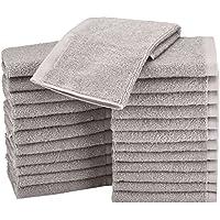 AmazonBasics Lot de 24 petites serviettes en coton 30 x 30 cm Gris