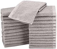 Idea Regalo - AmazonBasics Asciugamani in cotone, confezione da 24, Grigio
