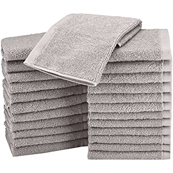 AmazonBasics Cotton Washcloth/Face Towel - 448 GSM - Pack of 24, Grey