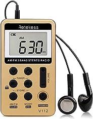Retekess V-112 Portable AM/FM Stereo Radio Pocket 2 Band Digital Tuning Radio Mini Receiver Outdoor Radio w/Earphone Lanyard