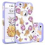 BENTOBEN Coque iPhone 6S Plus Ananas, Coque pour iPhone 6 Plus, Etui de Protection Résistante Antichoc Durable 2 in 1 Double Couches en PC + Silicone Flexible pour iPhone 6S Plus/6 Plus 5.5'', Violet