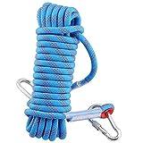 Syiswei 10m 20m 30m Corda da Arrampicata corda di sicurezza, Diametro 12 mm, 33 kN Pull ad alta resistenza di cavo Arrampicata attrezzature corda con 2 ganci,Blu, 10m(32ft)