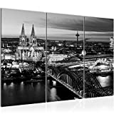 Runa Art Bilder Köln Wandbild 120 x 80 cm Vlies - Leinwand Bild XXL Format Wandbilder Wohnzimmer Wohnung Deko Kunstdrucke Grau 3 Teilig - Made in Germany - Fertig Zum Aufhängen 601531b