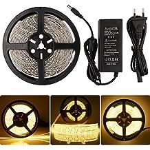 LEDMO Tira de luz, Tira de luz LED, 2700K Blanco cálido SMD2835-600leds IP65 Resistente al Agua 5 metros DC12V 15LM/LED de iluminación de tira llevada flexible, Kit Completo con fuente de alimentación 12V 5A.