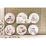 A Vintage Affair MDS Paris Cupcake Square Coffee Design Table Coasters And Decorative Holder (White)- Set Of 6