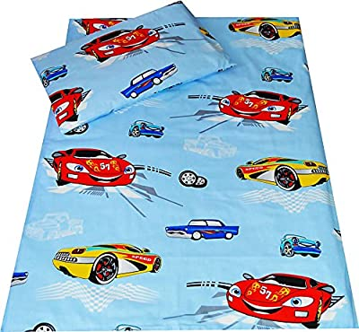 Babies-Island A 2 Piece Bedding Set Pillowcase+Duvet Cover For Baby Toddler To Fit Cot/Cot Bed - BLUE CARS ZIGZAG - low-cost UK light store.