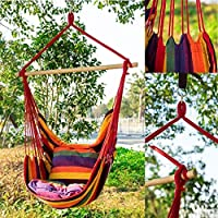 oenkeise Hammock Chair Cotton Canvas Swing Chair Garden Indoor Outdoor Hanging Chair Load Capacity 150kg (With Pillow)