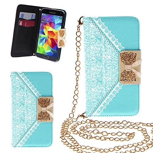 Xtra-Funky Esclusivo PU cuoio del modello del merletto e fiocco dorato di vibrazione di caso della copertura della borsa con la carta di credito e denaro slot e staccabile Catenina d'oro per Samsung Galaxy S5 Mini - Blu