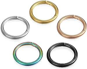 Cupimatch 8mm-12mm Uomo Donna Orecchini Piercing Naso Titanio anello cerchio colori(5 pezzi),Dimensione a scelta