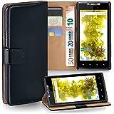 OneFlow Tasche für Motorola RAZR Hülle Cover mit Kartenfächern | Flip Case Etui Handyhülle zum Aufklappen | Handytasche Schutzhülle Zubehör Handy Schutz Bumper in Schwarz