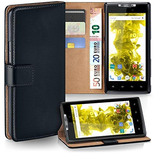 moex Motorola RAZR | Hülle Schwarz mit Karten-Fach 360° Book Klapp-Hülle Handytasche Kunst-Leder Handyhülle für Motorola RAZR Case Flip Cover Schutzhülle Tasche