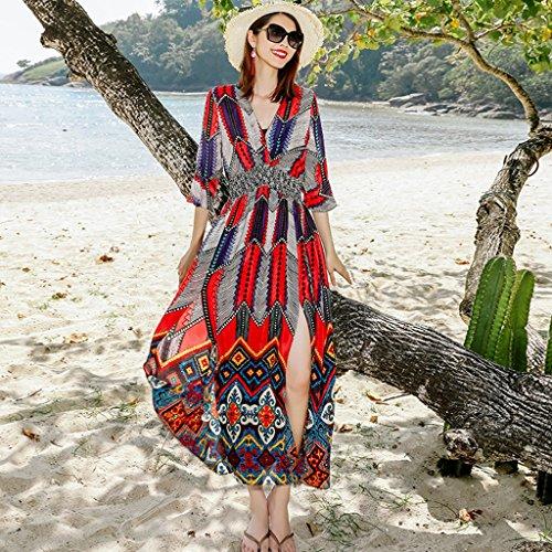 Brilliant firm Vestido de estampado Vestido de un vestido 100% seda de mora grande floral era fino (Color : Red, Size : S)