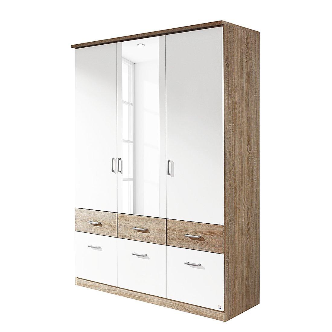 Kleiderschrank weiß hochglanz 3 türig  rauch Kleiderschrank Bremen, weiß/Dekor Eiche Sonoma mit Spiegel ...