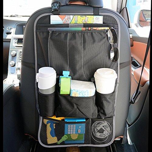 YOEEKU Geräumiges Auto Rückenlehnenschutz,Rücksitzschutz,Rücksitztasche,Rücksitz Organizer für Kinder,Reiseutensilien und Spielzeug (schwarz)