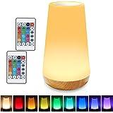 Taipow Veilleuse LED, Lampe de Chevet Multicolore à 360°, Lampe Nuit Rechargeable avec Toucher Luminosité Ajustable Télécomma
