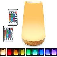 Taipow Veilleuse LED, Lampe de Chevet Multicolore à 360°, Lampe Nuit Rechargeable avec Toucher Luminosité Ajustable…