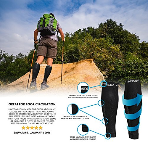 Calf Compression Sleeve for Men & Women, Best Footless Socks for Shin Splints & Leg Cramps, Runners Calves Circulation Remedy, Support Stockings, Running Gear, Basketball Lycra Tights – ALL BLACK