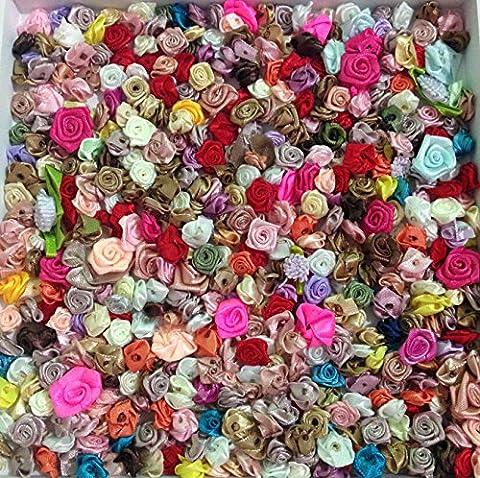 300pcs couleurs mélangées Petite Fleur Rose Satin fait main Mini Tête rose Décoration de mariage Couture Accessoires Scrapbooking Fournisseur,Mélanger les couleurs