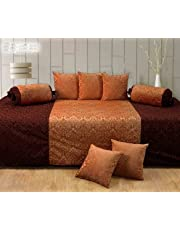 Diwan Set of 8 (Handtex Home Diwan Content: 1 Single Bed Sheet, 5 Cushion Cover, 2 Bolster, Total - 8 Pcs Set)