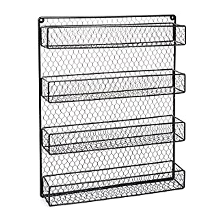 HLC Wall Mount 4 Tier Spice Rack Metal Kitchen Wire Organizer