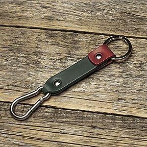 Grün rotes Leder Karabiner Schlüsselanhänger Ringhalter Klammer Schlüssel Karabiner-haken Geschenk Schlüsselband Anhänger