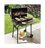 BBQ Barbecue à charbon, type 'baril' avec couvercle, sur chariot, avec 2 grilles + 1 grille de réserve. Pour 8/10 couverts