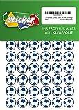 135 Aufkleber, Fußball, Sticker, 20 mm, weiß/blau, aus PVC, Folie, bedruckt, selbstklebend, EM, WM, Bundesliga