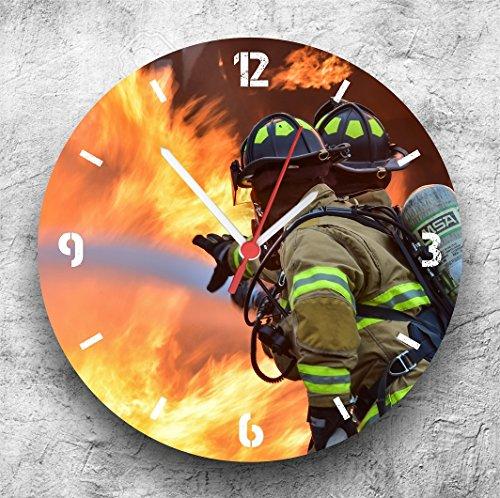 feuerwehr wanduhr Roter Hahn 112 Hochwertige Feuerwehr Wanduhr Uhr Teamwork/25cm/Geräucharm
